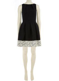 Black lace hem pleat dress