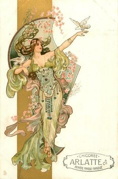 Art Nouveau Postcard, art by Eva Daniell, published by Raphael Tuck 1904 woman in light green & purple, dove on outstretched hand & right upper arm Motifs Art Nouveau, Art Nouveau Mucha, Alphonse Mucha Art, Art Nouveau Poster, Art And Illustration, Arte Art Deco, Kunst Poster, Inspiration Art, Graphic 45