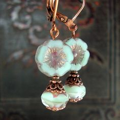80aed8338 Mint and lavender artisan Czech glass flower earrings with Victorian style  antique copper filigree. Antique. Ardent Hearts Designs