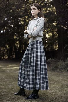 Modern little house on the Prairie- long plaid skirt with gray pullover