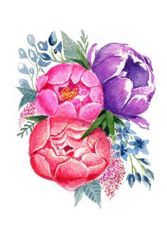 Blooming Peonies- Watercolor Print   $14   April Preston Design   aprilprestondesign.com