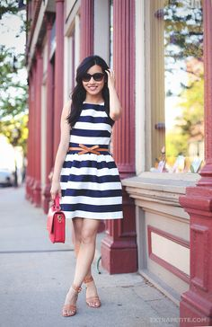 "Extra Petite: Sewing with lining: Convertible Fit & Flare Striped ""Dress"""