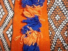 Traditional Moroccan Cushion Cover- Orange, Blue- 100% wool