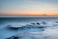 Strong Waves Crashing into Sea Rocks at Sunset, Kanagawa Prefecture, Japan Photographic Print
