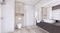BOSKE ART, architektura wnętrz, projekt, dom, łazienka, minimalizm, nowoczesność, biel, szarość BOSKE ART, interior design, design, home, house, bathroom, stairs, minimalistic, modern, white, gray Aspen Park, Dom, Toilet, Bathtub, Studio, House, Standing Bath, Flush Toilet, Bathtubs