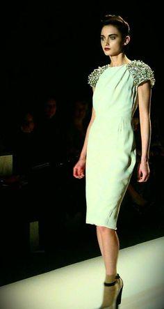 White dress with sparkling cap sleeves at Lela Rose