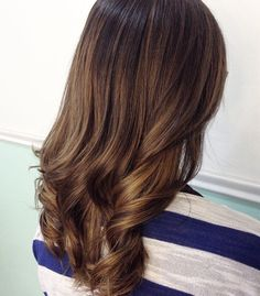 Brunette golden brown hair baby lights