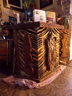 "Vintage 1960's Mid-Century Modern WITCO Tiki Bar Carving ""Watusi"" Bar Group #Collectible"