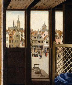 Robert Campin (oficina), Retábulo de Mérode (c. 1427-1432, Metropolitan Museum of Art, Nova Iorque) (detalhe)