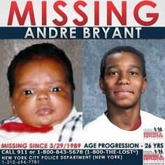 26 YEARS #MISSING! Andre was last seen with his mother on March 3, 1989 in #Brooklyn, #NewYork, who was later found deceased. Mother and child had left their residence at about 2 pm to go shopping with two black female acquaintances in a burgundy #Pontiac Grand Am, possibly with #Maryland tags