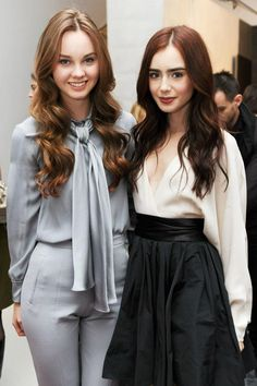 Actors Liana Liberato (L) and Lily Collins (R)