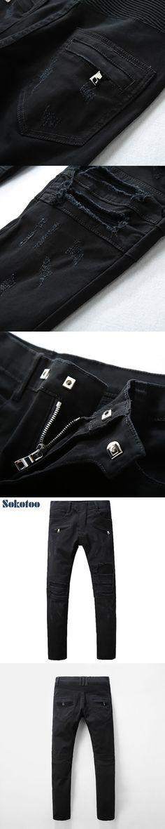 Sokotoo Men's fashion black holes pleated biker jeans for moto Casual slim stretch denim pants Long trousers