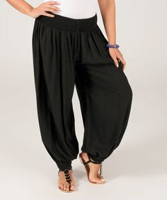 This Black Shirred Harem Pants - Plus Too is perfect! #zulilyfinds