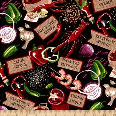 Salsa Picante Cajun Delight Black from @fabricdotcom  Designed by Dan Morris for Robert Kaufman Fabrics, this cotton print includes colors of red, orange, yellow and green on a black background. Use for quilting, crafts, apparel and home decor accents.