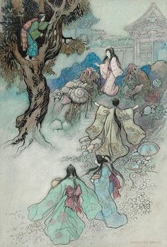 WARWICK GOBLE (British, 1862-1943) The Sea King and the Magic Jewels, Green Willow and Other Japanese Fairy Tales book illustration, 1910 Watercolor and ink on paper