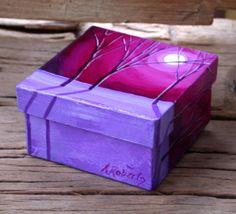 Box 4 x 4 Painted Night Tree Landscape by annarobertsart on Etsy, $45.00 #treasurebox