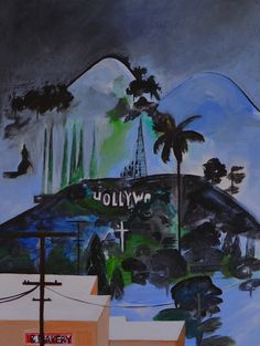 "Saatchi Online Artist: julia alexander-bates; Acrylic, Painting ""hollywood and Bakery"" #art"