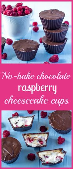 No-bake chocolate raspberry cheesecake cups - favorite recipe for no-bake summer dessert with cream cheese, chocolate and raspberries Best Dessert Recipes, Candy Recipes, Baking Recipes, Delicious Desserts, Yummy Food, Chocolate Raspberry Cheesecake, Cheesecake Cups, Cheesecake Recipes, Gluten Free Desserts