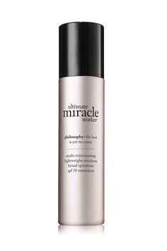 This potent lotion takes a two-pronged approach to aging: treating the already formed lines with retinoid and preventing future ones by disarming UVA and UVB rays.  Philosophy Ultimate Miracle Worker Multi-Rejuvenating Lightweight Emulsion SPF 30 philosophy.com