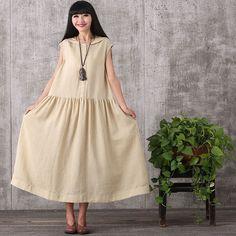 Women summer short sleeve loose cotton dress