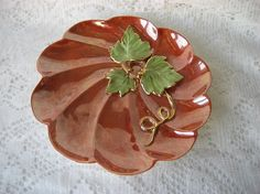 Pumpkin 8 plateDish orange greenGold Luster by PorcelainChinaArt