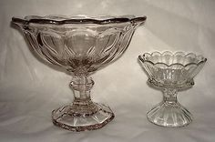 Antique EAPG Westmoreand 1776 Crystal Glass Colonial Footed Fruit Compote Dishes