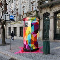 The graffiti street art by Spanish artist Oscar Okuda San Miguel are impressive colorful murals expressing the unique aesthetics of their creator. Land Art, Banksy, Graffiti Art, Art Installation, Amazing Street Art, Amazing Art, Okuda, Urbane Kunst, Yarn Bombing