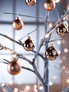 copper christmas tree baubles.