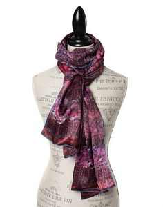 "SILK PRINT SCARVES FOR WOMEN IN LUXURIOUS SATIN SILK IN MAROON.  GŌBLE luxurious rectangular silk scarves elevate any outfit with the grace and artistry of trompe l'oeil. FABRIC & COMPOSITION 100% Satin Silk 20"" X 70"" (50cm x 178cm) GOBLE.CA"
