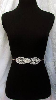 Etsy listing at https://www.etsy.com/listing/89114664/black-lace-belt-ivory-bridal-sash