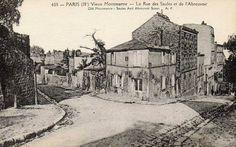 rue de l'Abreuvoir - Paris 18e Montmartre - La rue de l'Abreuvoir, au coin avec la rue des Saules, vers 1900 (ancienne carte postale)