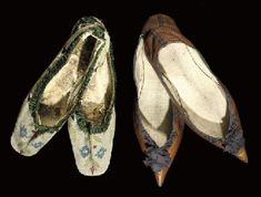 Christies Auctions: sale 5318, lot 17 an elegant pair of 1790s tan glacé kid pumps with low Louis heels and aubergine ribbon rosette and trim, inscribed in ink on insides Triggs