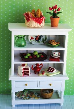 Its the Little Things: Miniature Kitchen Hutch Filled With All Things Red And Green...