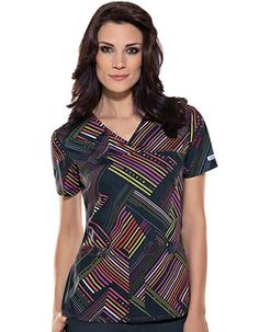 stylish medical scrubs in Bright On print made of durable 100% Cotton in a sporty v-neckline and short sleeves along with a front yoke