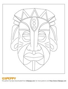 Printable Pattern - How to Make an African Mask African Art Projects, African Crafts, Afrique Art, Mask Drawing, Mask Template, 6th Grade Art, Art Africain, Masks Art, Thinking Day