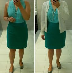 green, tone on tone, top, cardigan, skirt (Banana Republic), Cole Haan wedges