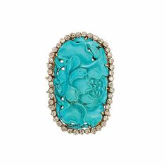 Two-Color Gold, Carved Turquoise and Diamond Brooch. Photo Doyle