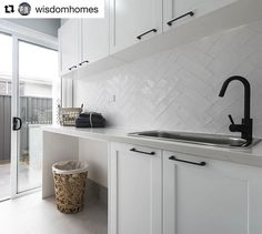 "97 Likes, 2 Comments - Di Lorenzo Tiles (@dilorenzo_tiles) on Instagram: ""Major Laundry Inspiration • Our simple white subway tiles look great laid in a herringbone pattern!…"""