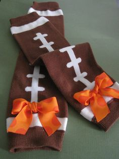 Football Legwarmers for Baby with Bows in Team Colors. NFL & College Inspired.