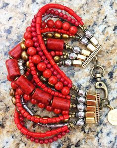 Red Infusion Cuff: Red Coral, Gold and Silver Multi-Strand Beaded Cuff Bracelet $200