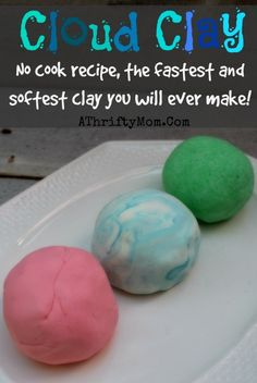 Cloud Clay ~ Softest Clay EVER, Only 2 ingredients NO COOK recipe - A Thrifty Mom - Recipes, Crafts, DIY and more - Hobbies paining body for kids and adult Clay Projects, Clay Crafts, Crafts To Do, Projects For Kids, Diy For Kids, Crafts For Kids, Science Projects, Clay Food, Diy Slime