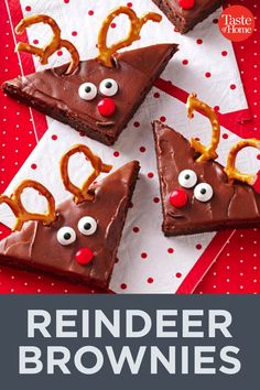 Reindeer Brownies Reindeer Brownies Source by taste_of_home Reindeer Brownies Recipe, Brownie Recipes, Christmas Snacks, Christmas Goodies, Chocolate Heaven, Melting Chocolate, Unsweetened Chocolate, Holiday Recipes, Christmas Recipes