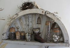 rustic and pretty - would look great indoors or outdoors on an enclosed porch.