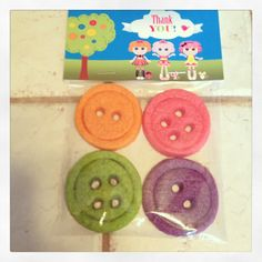 Button Cookies for my daughters Lalaloopsy Birthday Party favors. Used a play dough cookie recipe w electric colored food paste to get the extra bright colors. 2 circle cookie cutters, 1 to cut the cookie and pressed the smaller one 1/2 way in. Then used a straw to make the holes. #lalaloopsy