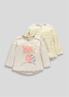 Girls 2 Pack Owl Design Tops (3mths-5yrs)