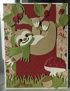 Marianne Design Cards, Flower Patterns, Pattern Flower, Tropical Art, Die Cut Cards, Bird Cards, Animal Cards, Cute Cards, Sloth