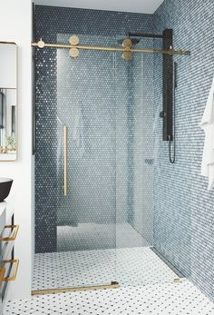 Modern Bathroom, Master Bathroom, Beach House Bathroom, Master Bath Remodel, Frameless Shower Doors, Bathtub Doors, Upstairs Bathrooms, Blue Bathrooms, Bathroom Inspiration