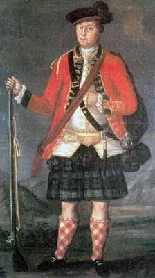 After the Battle of Ticonderoga, July 1758 the Foot were made a Royal Regiment. The blue facings and white waistcoat indicate that this painting is probably from the or Scottish Army, Scottish Clans, British Army Uniform, British Uniforms, Scottish Clothing, Historical Clothing, Native American History, American Civil War, Fort Ticonderoga