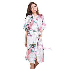 Women Silk Satin Long Wedding Bride Bridesmaid Robe Peacock Bathrobe Floral Kimono Robe Large Size Dressing Gown Peignoir Femme