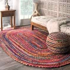 Bohemian Round Braided Rug 23 Inches In Diameter Colored Braids Throw Rugs And